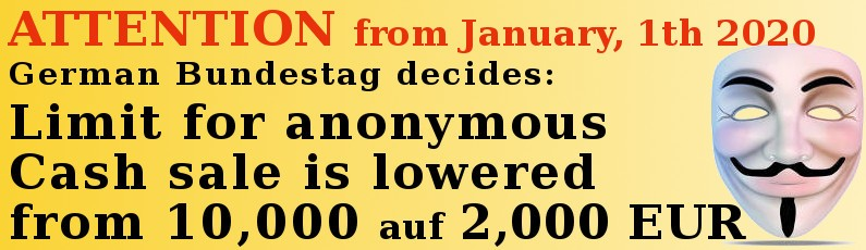 Anonymous Cash Sale Dramatically Reduced Starting January 2020
