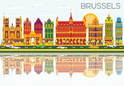 Belgium: skyline of Brussels as art design