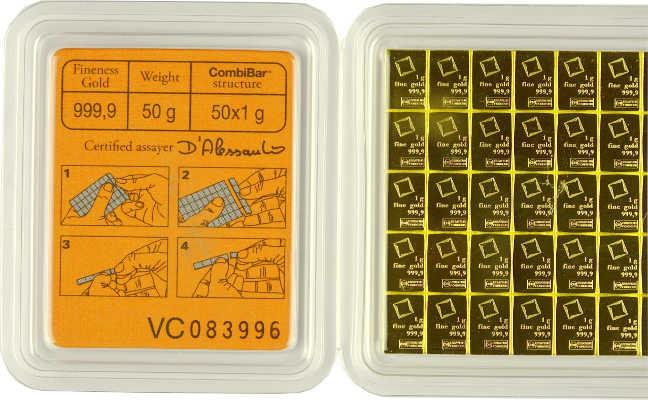 Gold bar CombiBar Valcambi 50x1g