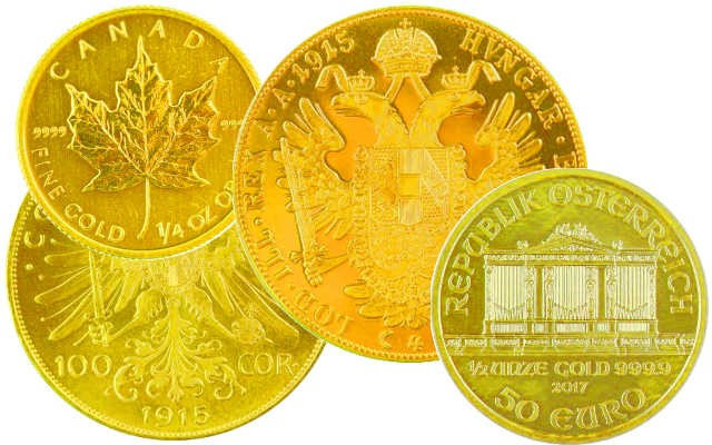 Gold coins from 1/4 ounce up to almost 1 ounce