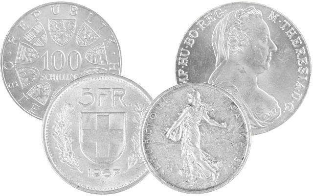 Silver coins Austria, Switzerland, France