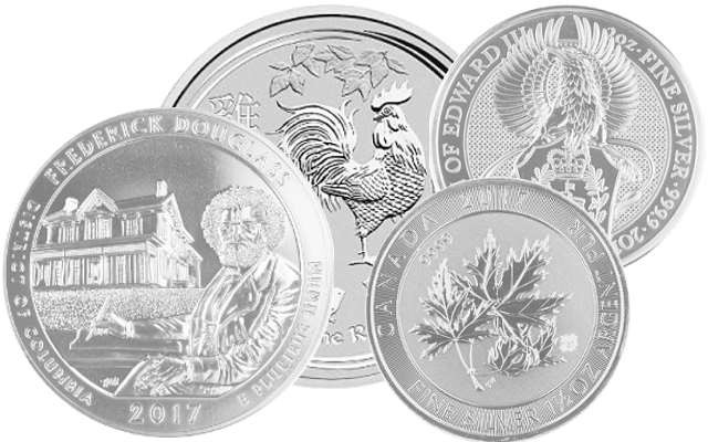 Silver Coins larger than 1oz: America the Beautiful 5oz, Lunar II Rooster 10oz, Queens Beast 2oz, Multi Maple 1,5oz