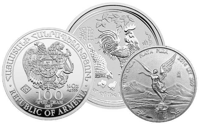 Silver Coins smaller than 1 Ounce: Noah's Ark 1/2oz, Lunar II Rooster 1/2oz, Mexican Libertad 1/10oz