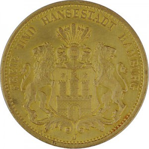 20 Mark Free Hanseatic City of Hamburg 7,16g Gold