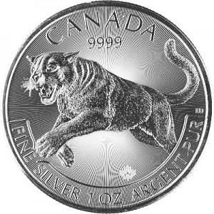 Canadian Predator Series - Cougar - 1oz Silver - 2016