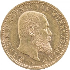 10 Mark Wilhelm II King of Wurttemberg 3,58g Gold