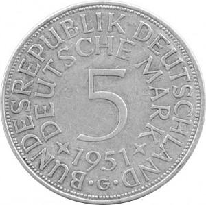 5 DM Business Strike GDR 7g Silver (1951 - 1974)