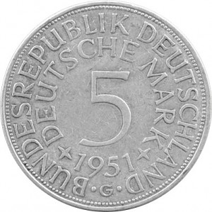 5 DM Business Strike GDR 7g Silver (1951 - 1974) - B-Stock