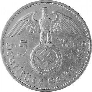 5 Reichsmark Hindenburg with Swastika 12,5g Silver (1934 - 1939)