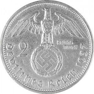 2 Reichsmark Hindenburg with Swastika 5g Silver (1936 - 1939)