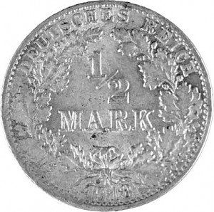 ½ Mark German Empire 2,5g Silver (1905 - 1919)