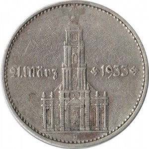 2 Reichsmark Garrison Church  mit Jahr 5g Silver (1936 - 1939)