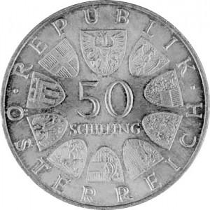 50 Austrian Shilling 18g Ag (1959 - 1973)