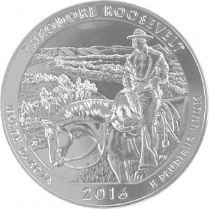 America the Beautiful - North Dakota Theodore Roosevelt  5oz Silver - 2016
