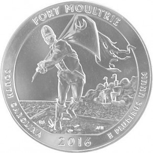 America the Beautiful - South Carolina Fort Moultri Monument 5oz Silver - 2016