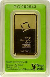 Gold Bar 100g - Green Gold VALCAMBI