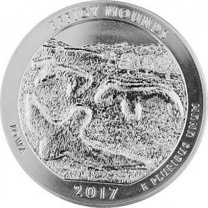 America the Beautiful - Iowa Effigy Mounds National 5oz Silver - 2017