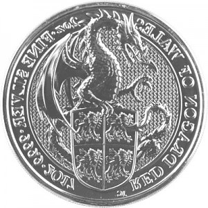 Queens Beasts Red Dragon 2oz Silver - 2017
