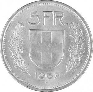 5 Swiss Franc 12,5g Silver (1931 - 1967, 69)