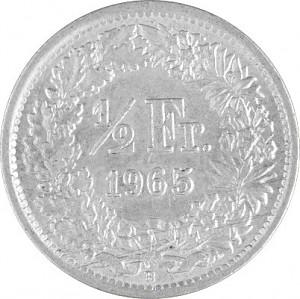 ½ Swiss Franc 2,088g Silver (1875 - 1967)