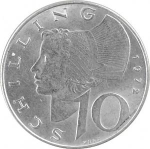10 Austrian Shilling 4,8g Ag (1957 - 1973)