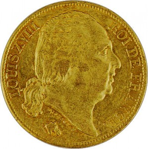20 French Francs Louis XVIII 5,81g Gold