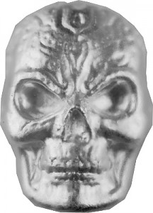 'Celtic Skull' 3D-Bars 1oz Silver, hand pured