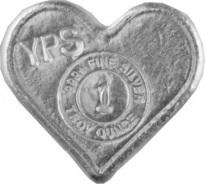 """Heart"" 3D-Bars 1oz Silver, hand pured"