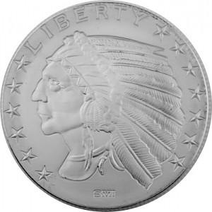 Incuse Indianer Round 1oz Silver
