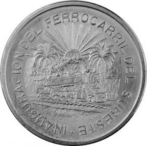 5 Pesos Mexico railway 20,05g Silver - 1950