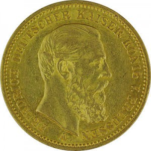 20 Mark Emperor Friedrich III of Prussia 7,16g Gold