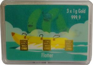Gold Bar 3x1g - Flipmotiv 'briskly three, banana boat'