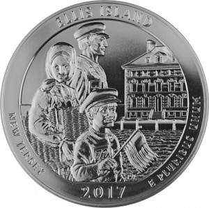America the Beautiful - New Jersey Ellis Island 5oz Silver - 2017