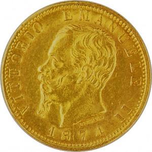 20 Lire Vittorio Emanuele II 5,81g Gold 1861 - 1878
