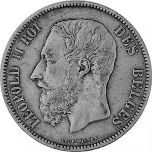 5 Belgian Francs 22.5g Silver Leopold II 1867 - 1876