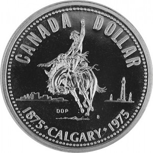 1 Canada Dollar 100 Years Calgary Rodeo Ranger 11,58g Silver - 1975