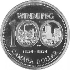 1 Canada Dollar 100 Years Winnipeg 11,55g Silver - 1974
