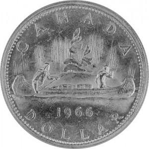 1 Canada Dollar Fur Trader u. Indian in canoe 18,66g silver - 1966