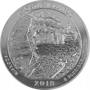 America the Beautiful -  Wiconsin Apostle Islands 5oz Silver - 2018