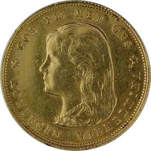 10 Dutch Guilders Wilhelmina Youth 6,05g Gold