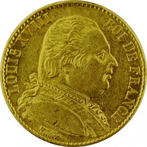 20 French Francs Louis XVIII uniform 5,81g Gold