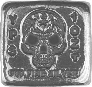 'Skull' 3D-Bars 1oz Silver, hand pured