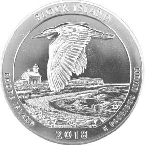 America the Beautiful - Rhode Island Block Island National Wildlife 5oz Silver - 2018