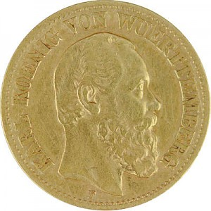 10 Mark Karl King of Wurttemberg 3,58g Gold