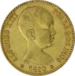 20 Pesetas Alfonso XIII 5,81g Gold