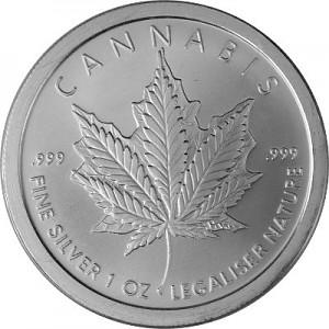"""""""Cannabis"""" Silver Round 1oz Silver 2018 BU"""