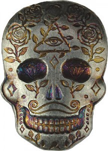 """""""Skull - Day of the Dead - All Seeing Eye"""" 3D-Bar 2oz Silver"""