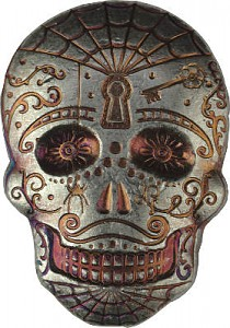 """Skull - Day of the Dead - Spiderweb"" 3D-Bar 2oz Silver"