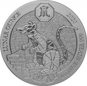 Rwanda Lunar  Rat 1oz Silver - 2020