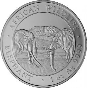 Somalia Elephant African Wildlife 1 oz Silver - 2020